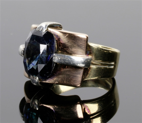 14K White, Yellow & Rose Gold Sapphire Ring
