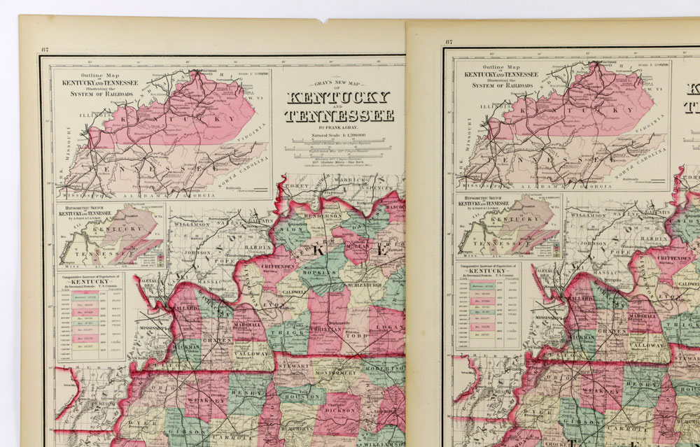 Lot Detail 3 Maps 1800s Gray S Kentucky And Tennessee