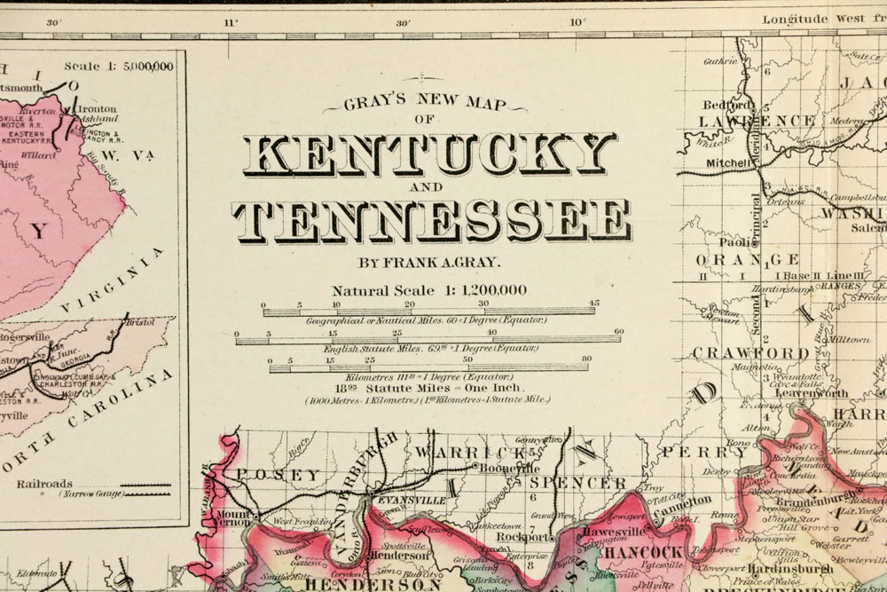 I 69 Tennessee Map.Lot Detail 3 Maps 1800s Gray S Kentucky And Tennessee
