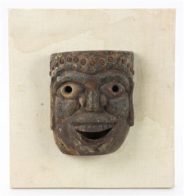 Ancient Wood Mask w/ Metalwork