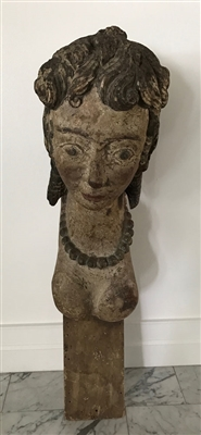 Late 18th C. Exceptional Carved Figural Rudder Head