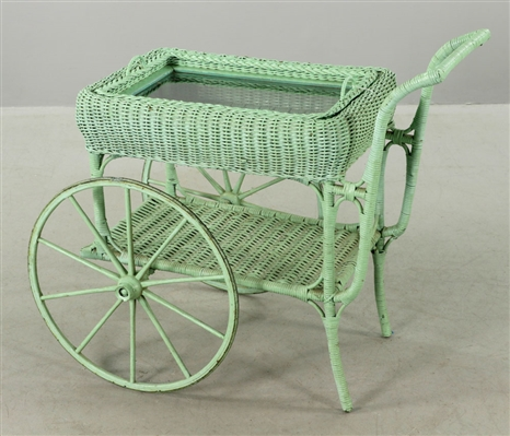 Painted Wicker Entertainment Cart