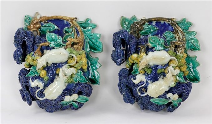 Pr of 19th C. Palissy Porcelain Wall Pockets