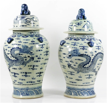 Antique Chinese Blue & White Porcelain Jars