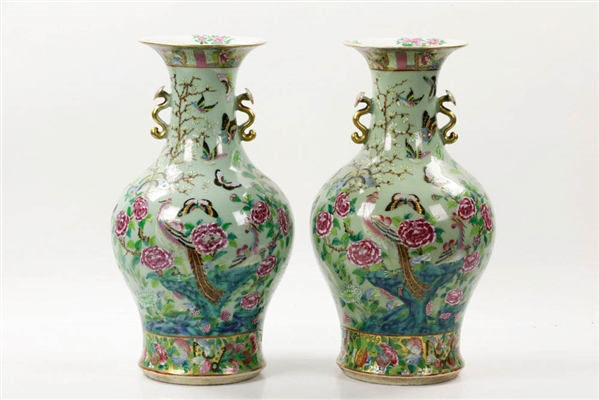 Pr of Late 19th C. Chinese Famille Rose Vases w/ Butterflies