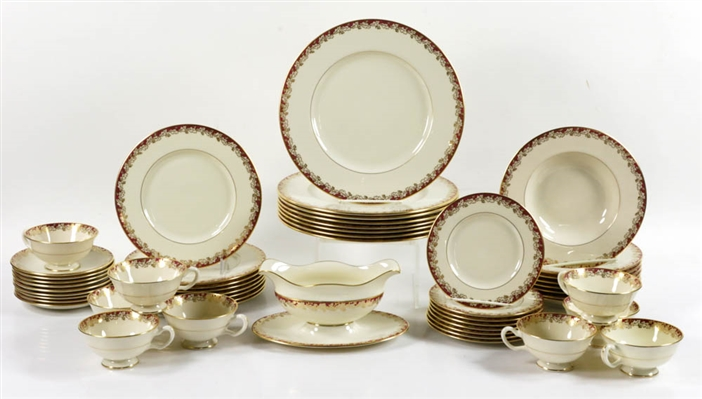 "(51) pcs Lenox China ""Oakleaf Maroon"", Service for (8)"