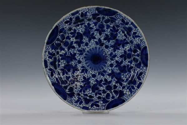 Delft Blue & White Charger w/ Stylized Foliage