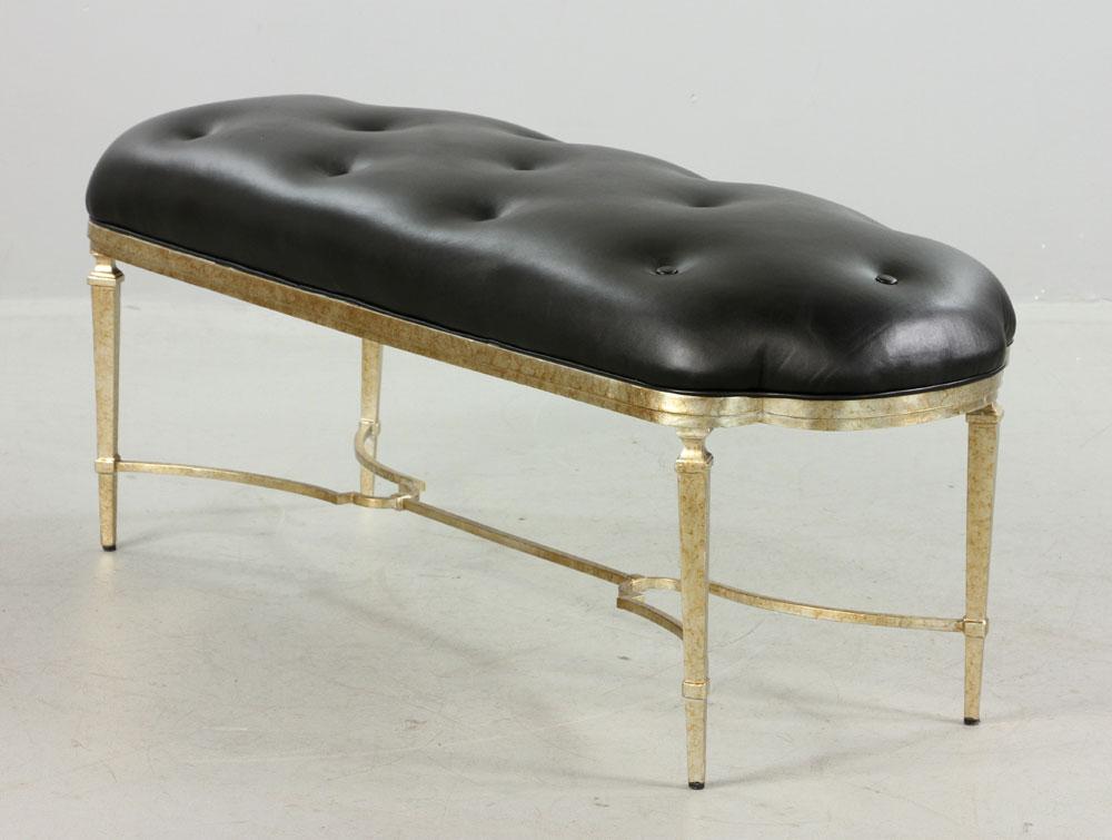 Lot Detail Designer Upholstered Leather Bench