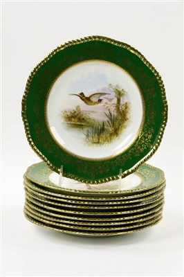 (10) Early 20th C. English Coalport Plates w/ Birds