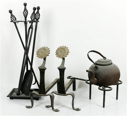 Lot of Fireplace Accessories, 19th C. Andirons