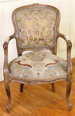 19th C. French Fauteuil Chair w/ Needlework