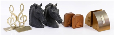 Four Pair of Vintage Bookends, Horse Heads