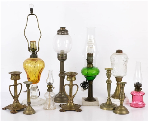 Collection of Assorted Lamps & Candlesticks