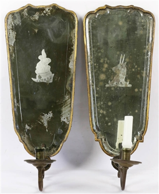Pr of 18th C. English Mirrored Sconces