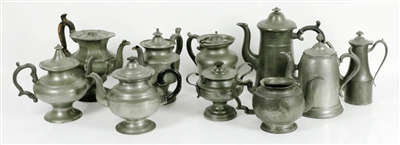 Collection of Early Pewter Teapots, Sugar