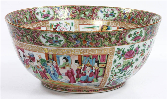Exceptional 19th C. Chinese Rose Mandarin Punch Bowl