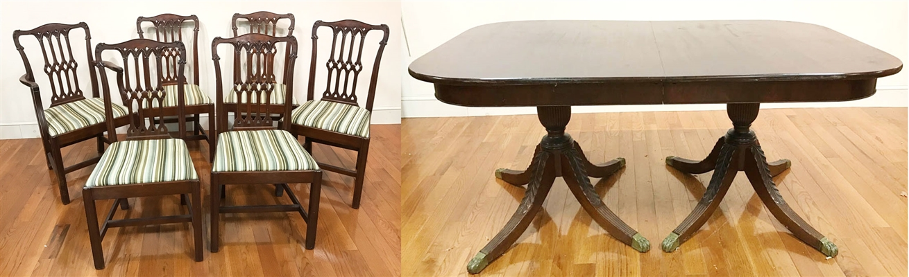 C1925 Atwill Fine Mahogany Dining Table & Chairs