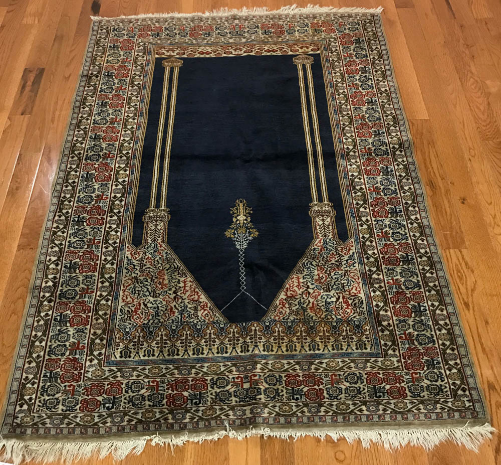 Prayer Rug Types: Finely Woven Semi-antique Turkish Prayer Rug