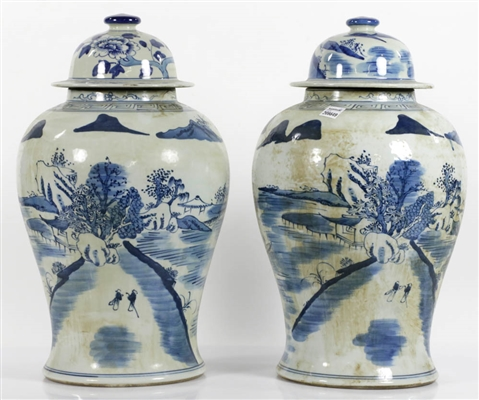 Pr of Chinese Blue & White Covered Jars, Floral Landscape