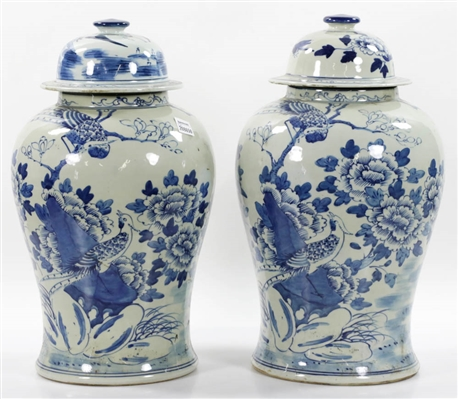 Pr of Chinese Blue & White Covered Jars, Birds