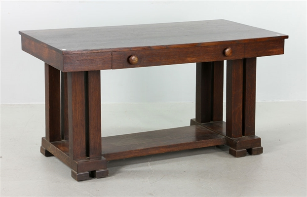 Arts and Crafts Single Drawer Library Table