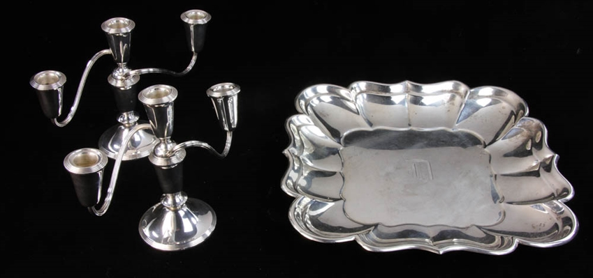 Sterling Square Tray & Pair of 3-Light Candlesticks