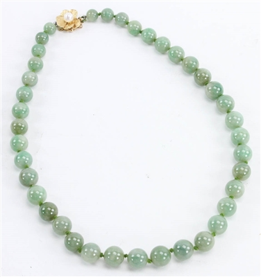 Chinese Beaded Jade Necklace w/ 14k Clasp