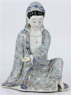 19th C. Chinese Famille Rose Porcelain Guanyin