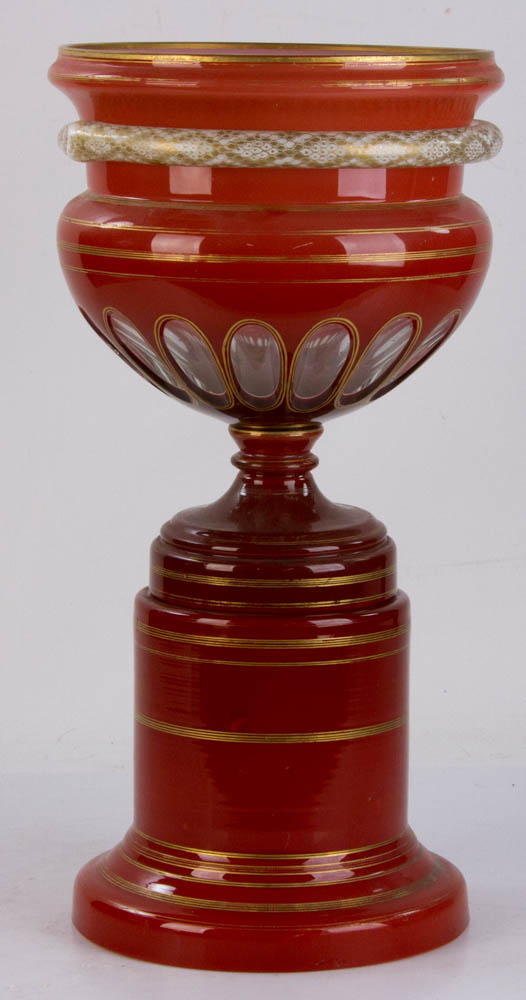 Lot Detail 19th C Baccarat Style Overlay Glass Vase On Stand