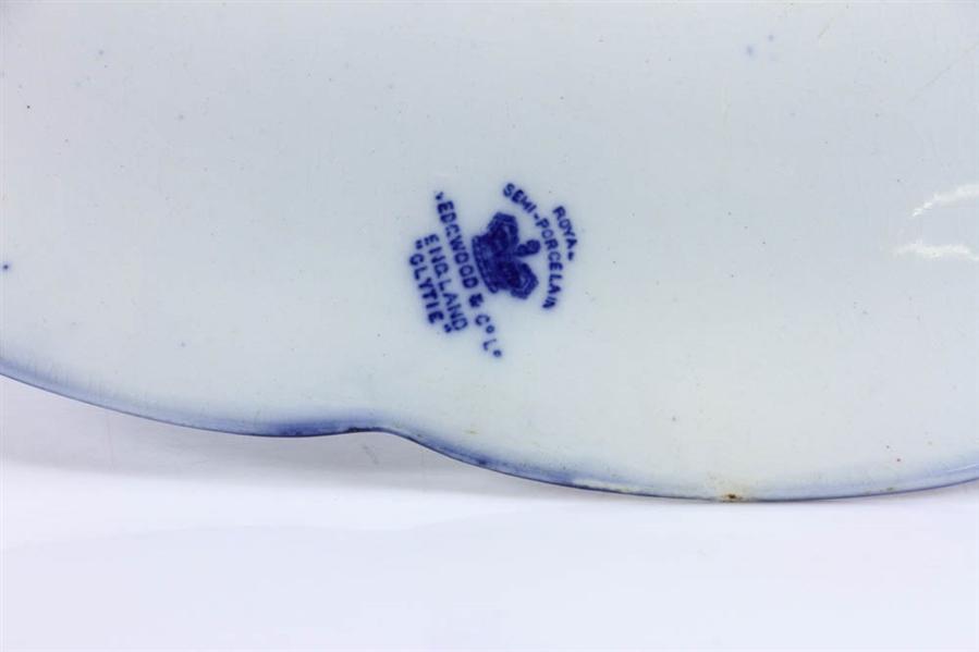 Lot Detail English Flow Blue Turkey Platter Marked Wedgwood