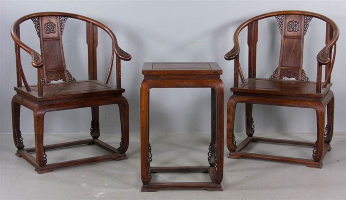 Set of Chinese Wood Armchairs & Stand
