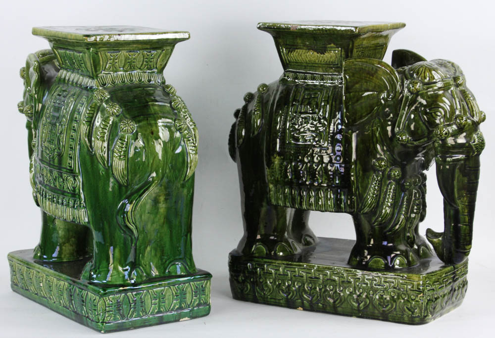 Lot Detail Pair Of Chinese Porcelain Elephant Stands