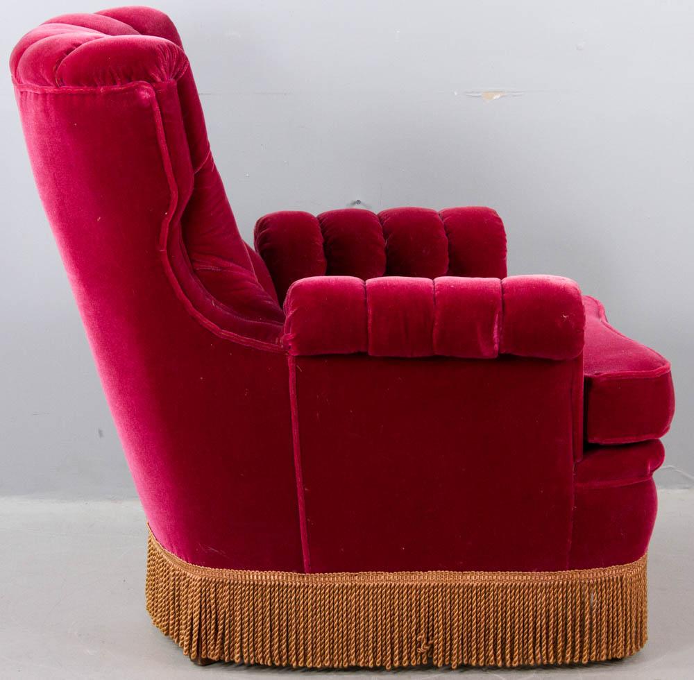 Lot Detail - 1920's Deco Red Velvet Armchair