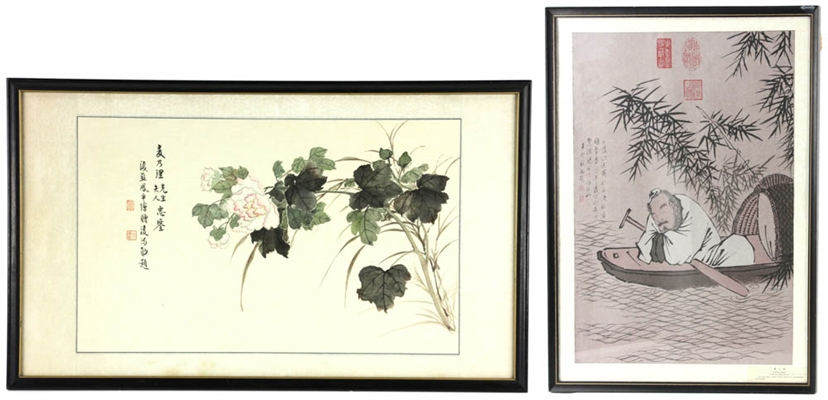 Chinese Floral Watercolor & Print of Fisherman