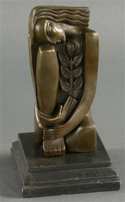 In Manner of Dali, Lady with Flower, Bronze