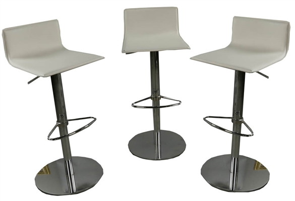 (3) Modern Chrome and Leather Bar Stools