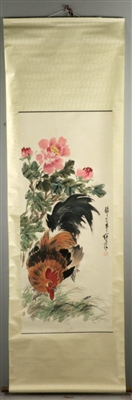 Scroll of Chinese Watercolor, Flower, Rooster