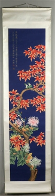 Scroll of Chinese Watercolor, Birds, Flowers
