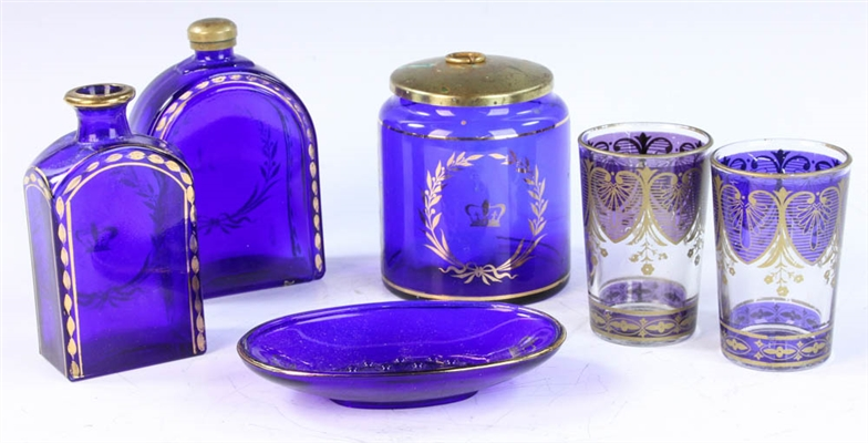 Group of Cobalt and Gilt-Decorated Glass