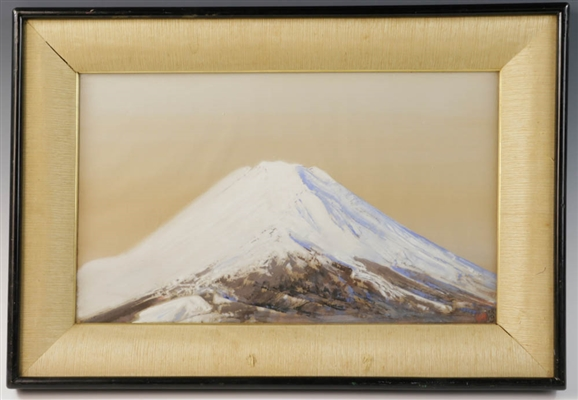 Japanese Watercolor on Silk of Mount Fuji