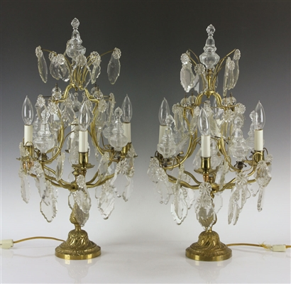 Pair of Girandole Bronze Lamps