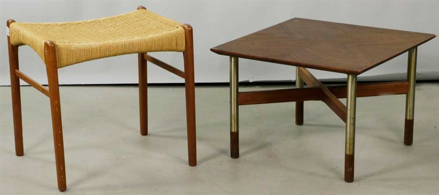 (2) Mid-century Items, Stool and Side Table