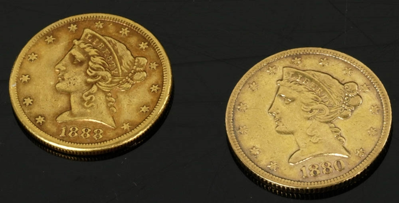 Two Liberty Head Gold Half Eagle Coins