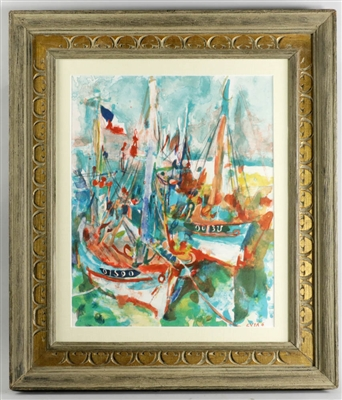 Jean Even French Boats Signed Watercolor