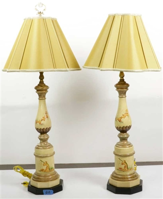 Pair of Paint Decorated Table Lamps