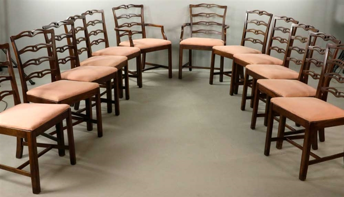(12) Early 20th C. Chippendale-style Chairs