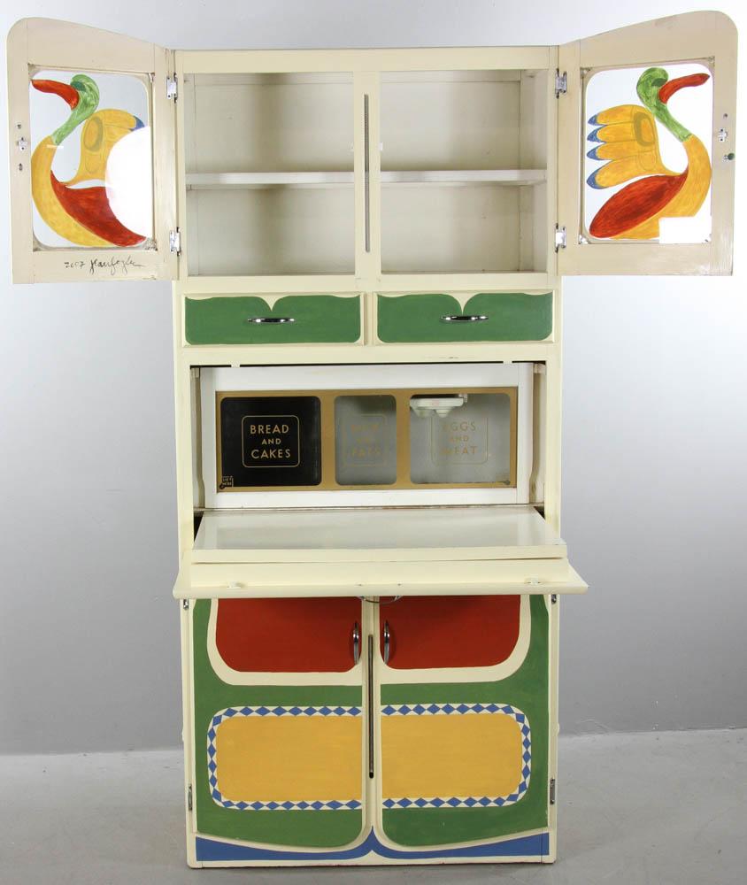 Lot Detail - Early 20thC Custom Painted Hoosier Cabinet
