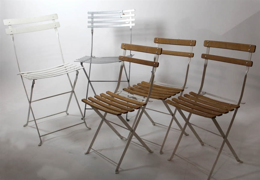 lot detail group of five folding bistro chairs