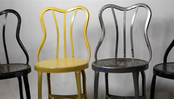 Cool Lot Detail Set Of Six Vintage Painted Metal Chairs Download Free Architecture Designs Ferenbritishbridgeorg