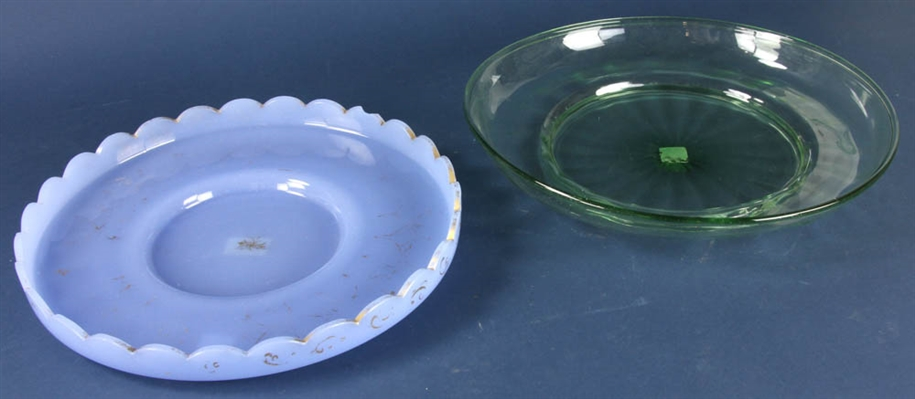 Two Blown Glass Trays